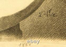 Dessin au fusain académique époque fin XIXème