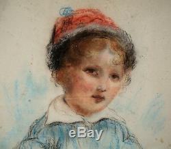 Dessin-craie Grasse-gouache-portrait Enfant-epoque XIX Eme-bonnet