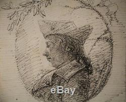 Dessin-encre-epoque XIX Eme-portrait-gentilhomme-leon Boisson-profil
