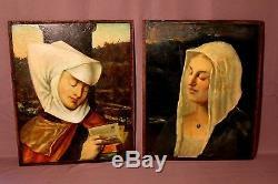 Deux anciens tableaux de boiserie dans le goût médiéval époque XIXème siècle