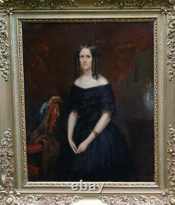 E. Hiéblot Portrait de Femme Epoque Louis Philippe HST du XIXème siècle