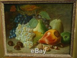 EH Nature morte aux fruits raisins poires Epoque Second Empire HSP XIXème siècle