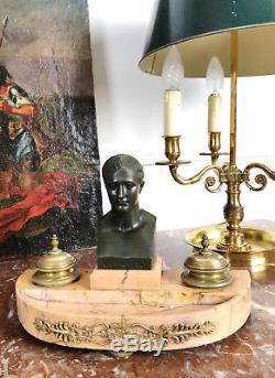ENCRIER D'ÉPOQUE NAPOLÉON III EN MARBRE ET BRONZE SIGNÉ A. KELY DU 19e