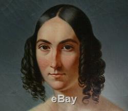 Edme Rousseau Portrait de femme époque Louis Philippe HST XIXème siècle