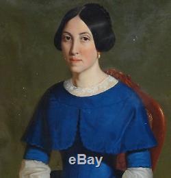 Emile Roumens Portrait de femme Epoque Louis Philippe H/T XIXème siècle