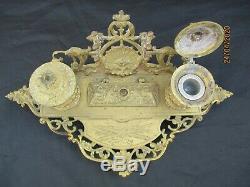 Encrier bureau bronze decor tête Bacchus d'époque 19ème