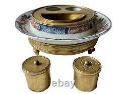 Encrier en Porcelaine Imari et Bronze Doré Époque XIX ème Japon Antique Inkwell