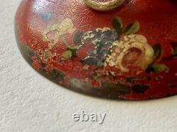 Encrier en Tôle Peinte Polychrome Décor au Chinois Époque XIXème Antique Inkwell