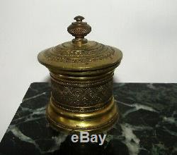 Encrier style Empire bronze doré et marbre époque. XIXéme ancien antique inkwell