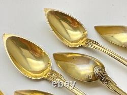 Ensemble de 6 petites cuillères à dessert en Argent Massif Vermeil époque XIXeme