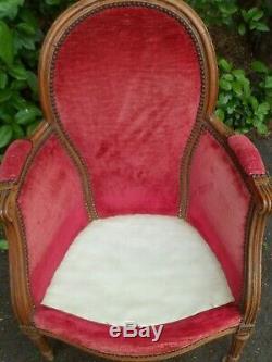 Époque XIXème, fauteuil bergère enfant ou de dame, Louis XVI, velour