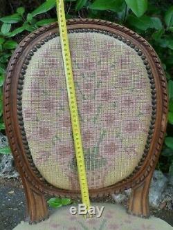 Époque XIXème, petit fauteuil enfant Louis XVI, chaise médaillon, fleurs