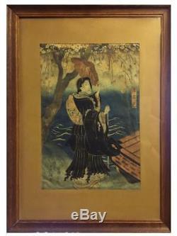 Estampe Japonaise femme à l'ombrelle époque XIXème
