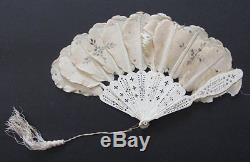 Eventail Plumes En Soie Epoque XVIII XIX Eme Antique French Fan