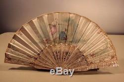 Éventail nacre et soie peinte époque XIXème