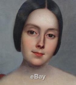 Excellent Portrait de femme Epoque Louis Philippe H/T XIXème Ecole Romantique
