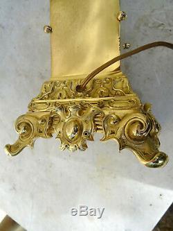 Exceptionnel grand pied de lampe à pétrole de bureau époque empire bronze XIXéme