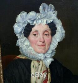 F. J. Portrait de Femme Epoque Louis Philippe Ecole Française XIXème Siècle HST