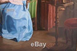 Femme à la serinette huile sur toile époque début XIXème