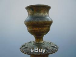 Flambeaux bougeoirs bronze ciselé d'époque XIXeme siecle empire restauration