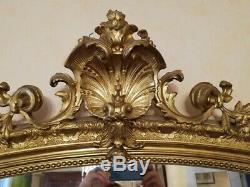 GRAND ANCIEN MIROIR en bois et stuc doré de STYLE LOUIS XV époque XIXeme