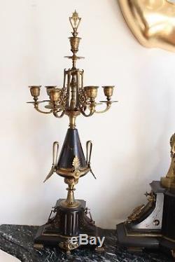 Garniture De Cheminée Signée Mage Epoque XIXème