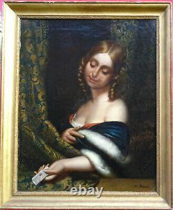 Georges Dupré Portrait de Femme à Lettre Epoque Louis Philippe du XIXème HST
