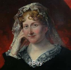 Glover Portrait de femme à la coiffe Epoque Romantique H/T XIXème siècle