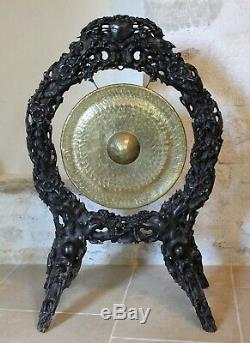 Gong Indochinois en bois sculpté et cuivre époque XIX ème siècle