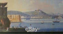 Gouache Napolitaine, Vue De Naples Depuis Mergellina, Grand Tour, époque XIX ème