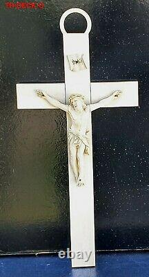 Grand Crucifix Christ Os De Dieppe Sculpte Epoque Xixeme Haut. 38.5cm Religieux