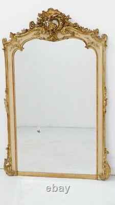 Grand Miroir Louis XV Rocaille En Bois Laqué Et Stuc Doré, époque XIX ème