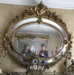 Grand Miroir Mercure Biseauté à Parecloses Époque XIXeme Louis XVI Napoléon III