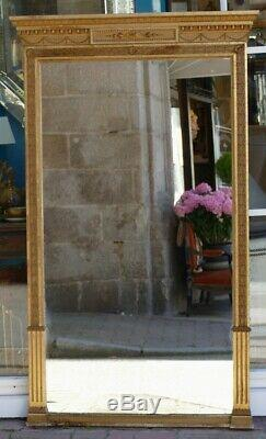 Grand Miroir Trumeau Style Louis XVI En Bois Doré, époque XIX ème