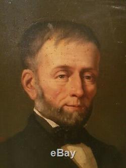 Grand Portrait d'homme ancien, huile sur toile, cadre doré époque XIX ème s
