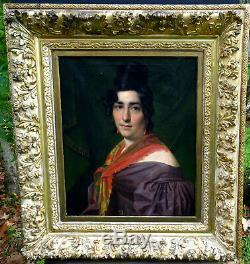 Grand Portrait de Femme Epoque Charles X Ecole Française du XIXème siècle HST