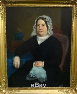 Grand Portrait de Femme Epoque Louis Philippe Huile sur Toile du XIXème siècle