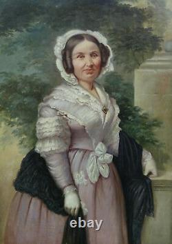 Grand Portrait de Femme d'Epoque Louis Philippe Huile sur Toile XIXème siècle