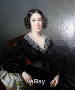 Grand Portrait de femme Epoque Louis Philippe Ecole française XIXème siècle HST