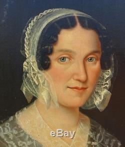 Grand Portrait de femme Epoque Louis XVIII HST XIXème siècle Ecole Française