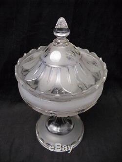 Grand drageoir bonbonnière en cristal taillé époque XIX ème siècle