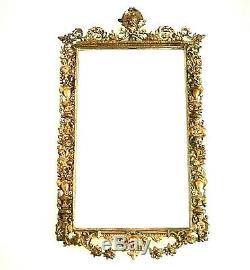 Grand miroir ancien avec cadre en bronze style Renaissance d'époque fin XIX ème