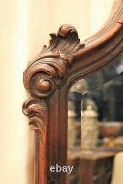 Grand miroir de style Louis XV en noyer époque XIX ème siècle