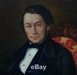 Grand portrait d'homme Epoque Louis Philippe HST XIXème siècle