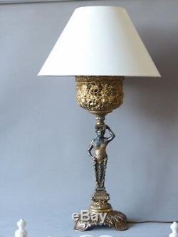 Grande Lampe En Métal, Femme Drapée, époque Fin XIX ème