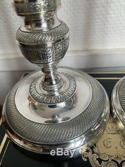 Grande Paire de bougeoirs XIX Eme Époque Empire Restauration Bronze Argenté