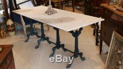 Grande Table De Jardin à 4 Pietements En Fonte Et Marbre Blanc, époque XIX ème