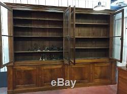 Grande bibliothèque Deux corps en noyer d époque XIX ème siècle
