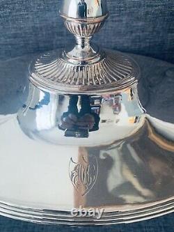 Grande soupière Époque Empire XIX Eme Métal Argenté Monogramme