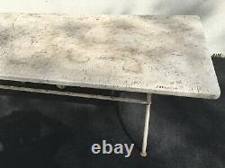 Grande table de jardin avec plateau marbre dépoque XIXème siècle